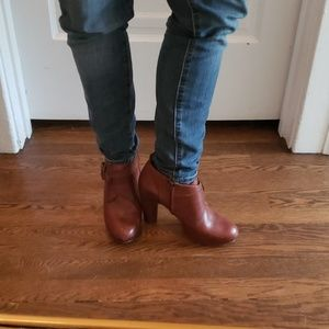 Frye Brown Leather Platform Boots